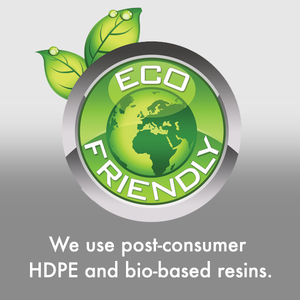 We use post-consumer HDPE and bio-based resins