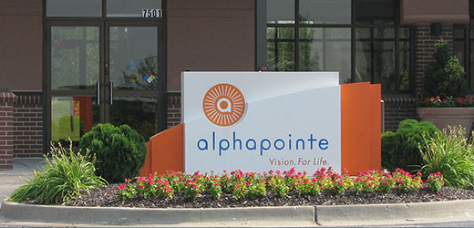 Image of the Alphapointe sign at the front entrance of our Kansas City Campus.