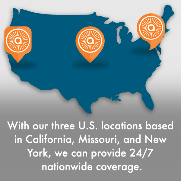 With our three U.S. locations based in California, Missouri and New York, we can provide nationwide coverage