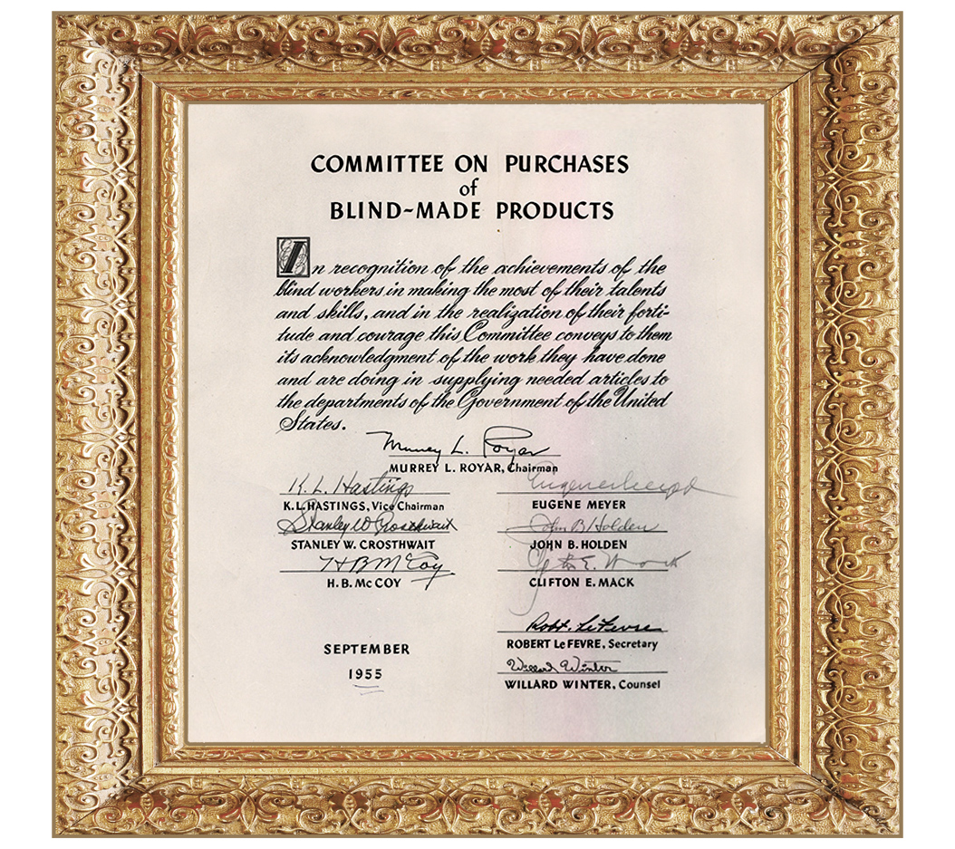 Image of framed Recognition from Committee on Purchases of Blind Made Products that was presented to Alphapointe by Helen Keller in 1955