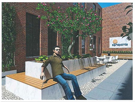 An artist's rendering of the new courtyard at the new Queens building