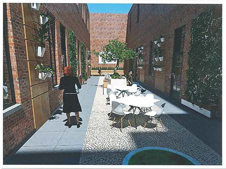 Different angle of the artist rendering of the courtyard for the new Queens building
