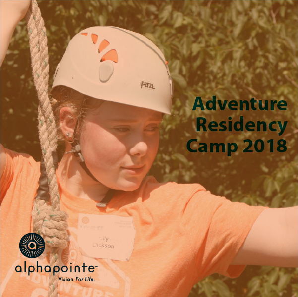 Image of Adventure Residency Camper confidently preparing to participate in the ropes course