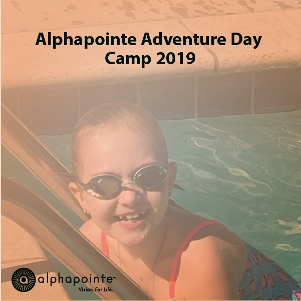 Alphapointe Adventure Day Camp 2019 Album cover image featuring a camper smiling, wearing goggles and a swim suit as she climbs the pool later to get out,