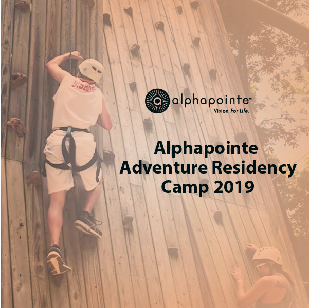 Album Cover for Alphapointe Adventure Residency Camp 2019 featuring a camper on the rock wall.